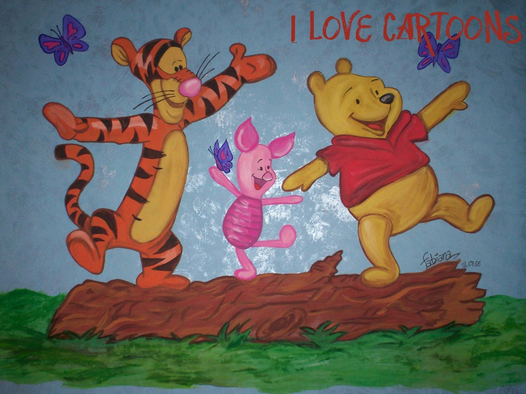 Murales winnie the pooh i love cartoons murales e pannelli for Decorazioni stanza